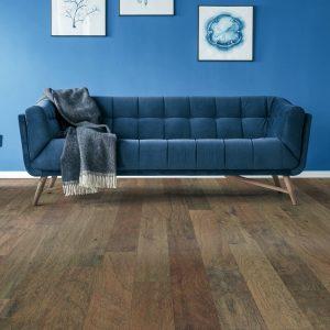 Blue couch on Hardwood floor | Floorida Floors