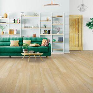 Green sofa on Laminate floor | Floorida Floors